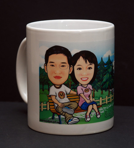 Couple caricatures printed on mug