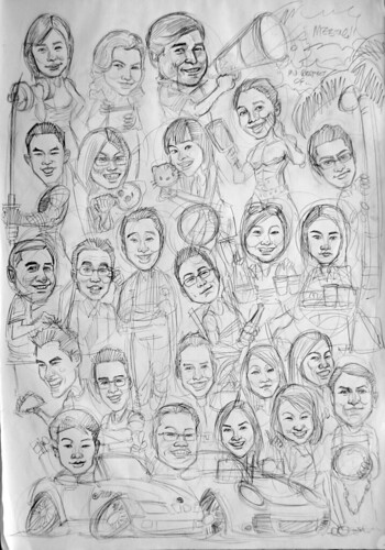 Group caricatures for HSBC pencil sketch