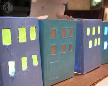 fresh painted raisin boxes for Hanukkah village craft