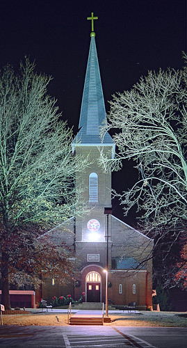 Saint John the Baptist Roman Catholic Church, in Villa Ridge (Gildehaus), Missouri, USA - exterior at Christmas