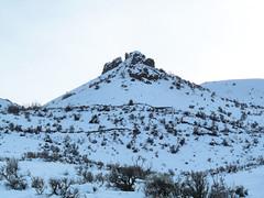Rock formation along ridge.