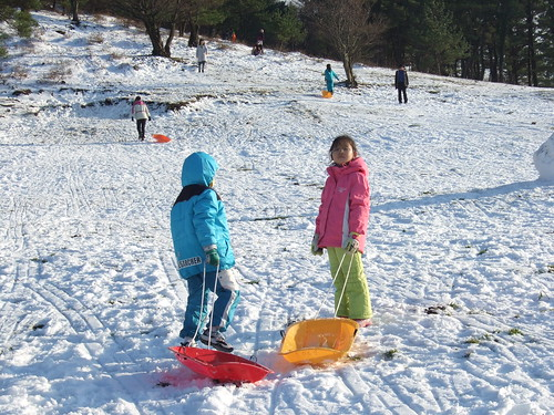 sledging in the snow by you.