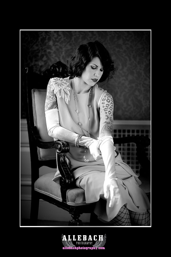 Flapper Putting On Gloves