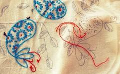 chickadee tea towel (secondsister) Tags: orangeandblue vintagepattern embrodiery