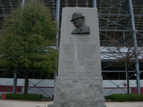 Bear Bryant statue outside Legion Field in Birmingham.. a dying city
