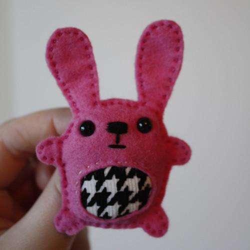Pink Houndstooth Bunny Brooch