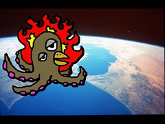 Space Squid (andrewhutchins1640) Tags: wallpaper fun fire drawing earth space alien cartoon explosion attack squid octopus creature tentacles exploding