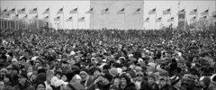 Crowds for Obama (starbuck77) Tags: blackandwhite cold washingtondc smithsonian dc concert nikon flag crowd january explore nationalmall washingtonmonument obama inauguration barack weareoneconcert