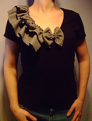 recycled fashion (RebeccasArtCloset) Tags: art fashion shirt ruffles clothing women recycled ooak sewing blouse cotton bow etsy tee rare whimsical reconstructed ruffle herringbone upcycled