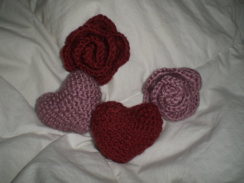 Crocheted Heart and Rose
