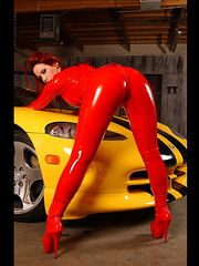 Bianca Beauchamp red hot rubber latex catsuit (asan.hecol) Tags: girls red hot sexy cars girl car shiny rubber latex bianca catsuit beauchamp latexlair