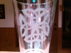 Etched glass Celtic knot