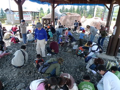 化石発掘体験コーナー