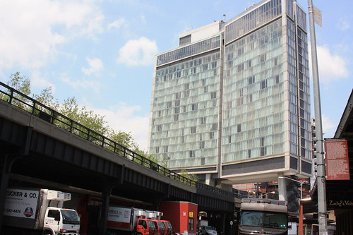 Standard Hotel straddling the elevated High Line tracks