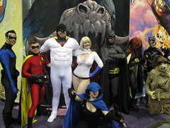 DC Gang with Space Ghost (lady_wolf_star) Tags: robin sandiego spaceghost batman batgirl raven comiccon 2009 catwoman nightwing powergirl scarercow vegaspgcosplay