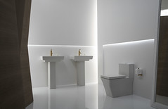 Modern White Bath (KohlerCo) Tags: white geometric modern square gold design bath sink contemporary vibrant interior space toilet minimal future faucet minimalist futuristic kohler reve pedestal purist