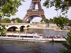 Bateau Mouche on river Seine near the Pont d'Ina and Eiffel Tower in Paris, France (JPC24M) Tags: bridge people paris france tourism statue seine boat dock holidays tour eiffel toureiffel anchor pont foule newyorkavenue bateau gens tourisme fleuve croisire touriste ancre pontdina avenuedenewyork