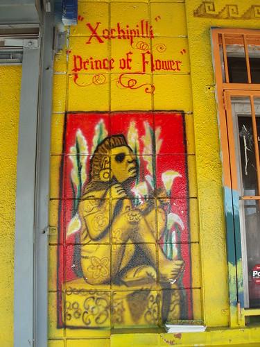 El Huarache Azteca - painting of Xochipilli