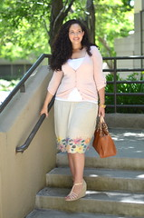 Flower Power (TaneshaAwasthi) Tags: summer curlyhair cardigan dsw tallgirl forever21 summertrends nyla michaelkors wedhes curvygirl plussizeskirt summer2011 girlwithcurves taneshaawasthi plussizetrends
