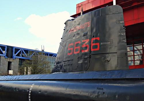 a submarine on land