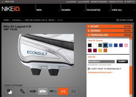 Nike iD site