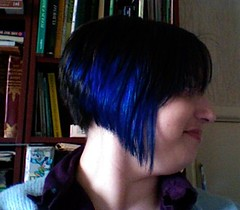 blue hair side