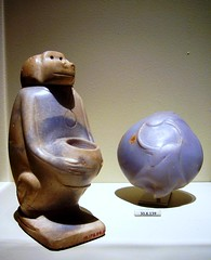 cosmetic vessel in the shape of a squatting monkey (ggnyc) Tags: nyc newyorkcity blue museum monkey manhattan egypt vessel jar marble met metropolitanmuseumofart cosmetic relic ancientegypt egyptology egyptianart toiletry ointment abydos myrrh frankincense anhydrite girga