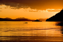 Last Ferry (Jon Christall) Tags: ocean sunset sea sky orange canada ferry clouds landscape boat ship bc britishcolumbia vessel orangesky gulfislands   bcferries   villagebay mayneisland queenofcumberland   aplusphoto
