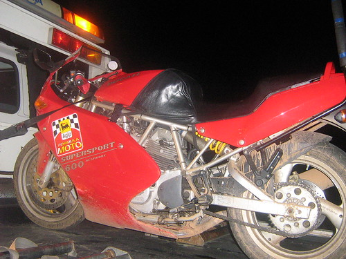 The Ducati loaded onto NRMA truck