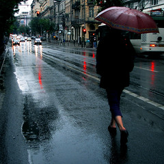 (fusion-of-horizons) Tags: red woman cars rain umbrella strada explore romania bucharest stree bucuresti rumania romanian umbrela masini bukarest roumanie bucarest ploaie bucureti explored femeie bucureti abigfave aplusphoto theunforgettablepictures colourartaward rubyphotographer worldglobalaward