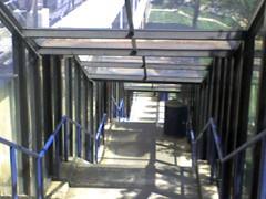 Glass corridor - staff parking lot at Creighton University medical center