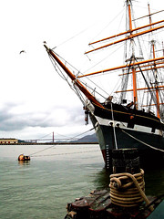 Balclutha and the Bridge (Old Top 40 DJ) Tags: sanfrancisco boat ship tallship slidr