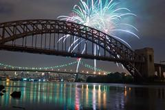 Astoria fireworks (malarchie) Tags: longexposure bridge night fireworks queens eastriver astoria astoriapark hellgate triboroughbridge
