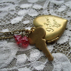 Vintage Locket Necklace (yourtricolor) Tags: pink flowers love glass vintage necklace key heart antique jewelry brass pendant locket