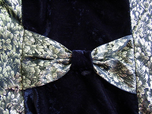 Upcycled Black and Gold Bow Tie Cocktail Dress