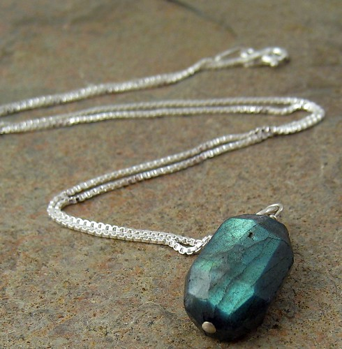 flashpoint... fiery labradorite net and sterling silver box chain necklace