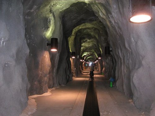 The tunnel used to transport skiers from one side of the mountain to the other