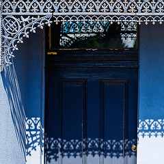 a6038 All Blue and Laced (tengtan (away awhile)) Tags: door blue house detail architecture facade design iron shadows terrace geometry lace patterns decoration ornate chiaroscuro thursdaychallenge wrought 500x500 auselite newacademy colorfulweek goldstaraward tengtan moulinrougeask