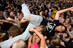 Stage Diving during Leftover Crack (konstantin sergeyev) Tags: nyc eastvillage newyork downtown lowereastside crowd loc riots crowdsurfing tompkinssquarepark stagediving leftovercrack 20thanniversary chokingvictim