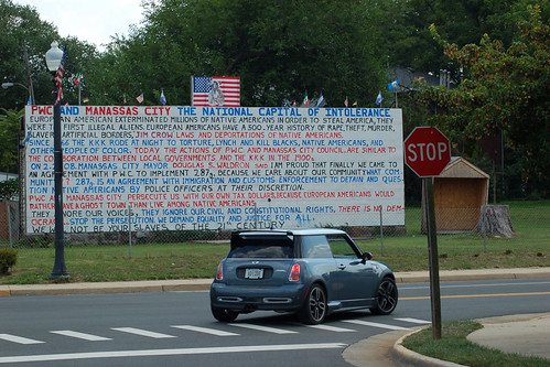 """The Wall of Liberty"": A protest by a Mexican-American resident of Manassas, Virginia, against a local immigration law."