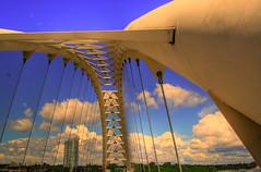 bridge skeleton (Juhn dela Pena) Tags: bridge blue sky toronto canada clouds skeleton google day afternoon suspension frame mid humber noontime