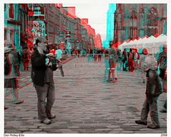 Bubble hunters 3D (Dan (aka firrs)) Tags: street game festival children fun video stereoscopic 3d soap jump edinburgh flickr play meetup joy bubbles fringe anaglyph casio stereo slomo float highspeed hispeed slowmotion slowmo redcyan exf1 em20080810