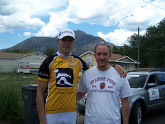 Jason Donald and fan Thomas Welker, Tour of Utah stage 1