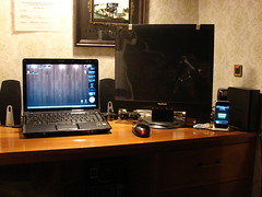 My Desk (yum9me) Tags: computer notebook mouse ipod desk laptop monitor intel setup externalharddrive hdd speakers computerdesk processor compaq iphone computersetup viewsonic westerndigital 19inch harddiskdrive ipodclassic intelceleron wallprocessor
