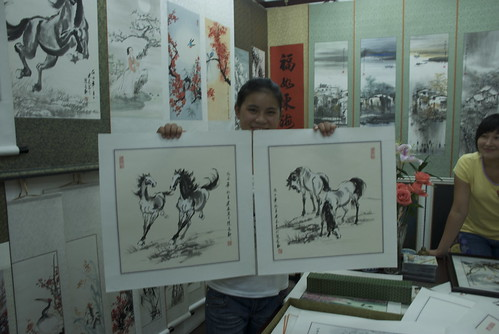 I purchased two brush paintings on rice paper from local Art College student, Ting Ting.