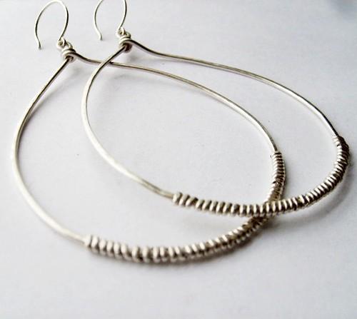 Sterling Silver Tear Hoop Earrings