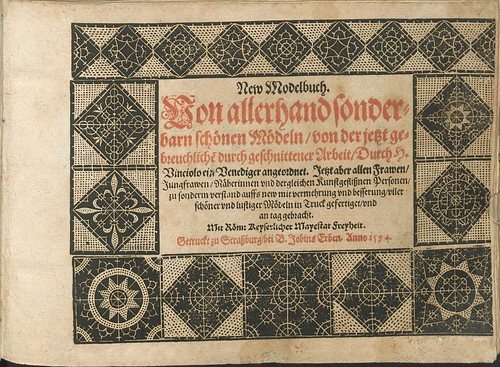 16th century lacemaking modelbook Titlepage
