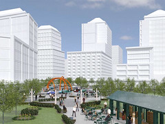 a plaza with high-rises in the background (by: PB Placemaking for Tysons Land Use Task Force)