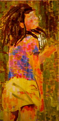 """""""The Sting,"""" 2008, Natalie Souza (natty.s) Tags: pencil painting saturated colorful vibrant figure oil tiedye izzy thesting oilonboard nataliesouza"""