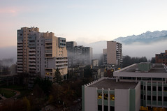 Grenoble (Richard Stowey) Tags: winter cloud mist france mountains cold fog architecture grenoble europe december low buidlings snowcappedmountains adobelightroom postmodernistarchitecture
